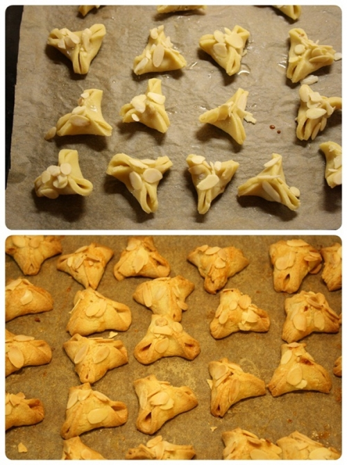 Rohaté čepice před a po pečení