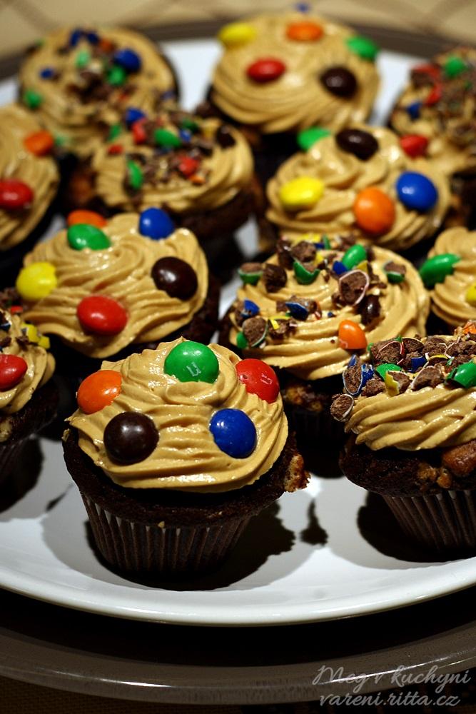 Brownies cupcakes sarašídovo-karamelovým krémem