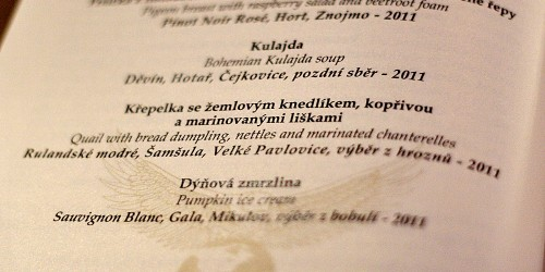 Křepelka - menu