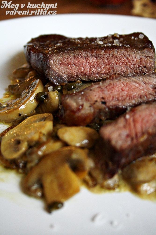 Hovězí steak se žampiony azeleným pepřem