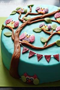 Bezlepkový aborůvkový dort se sovami