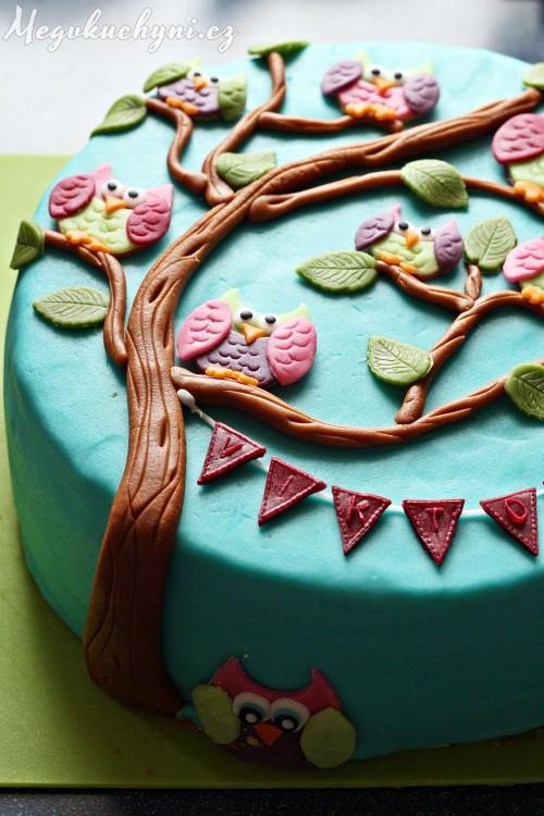 Borůvkový soví dort
