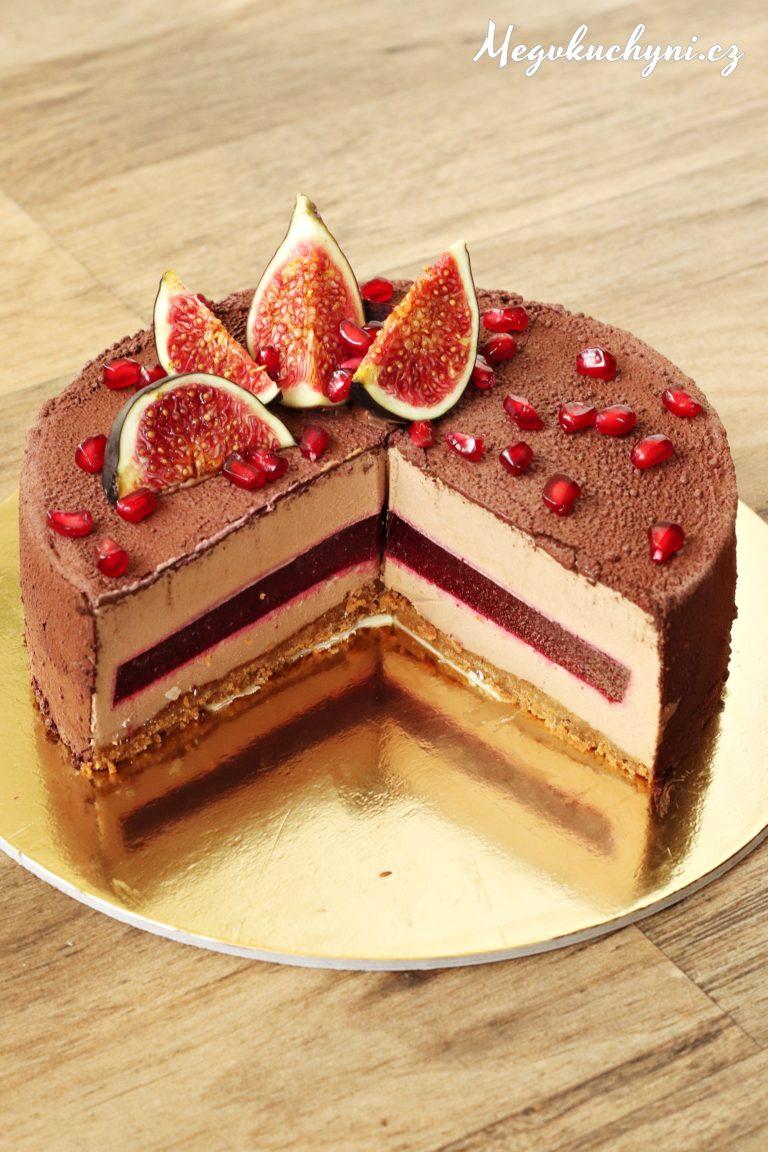 Pěnový dort z mléčné čokolády s ovocným želé