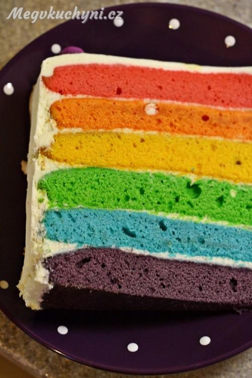 Ukrojený duhový dort