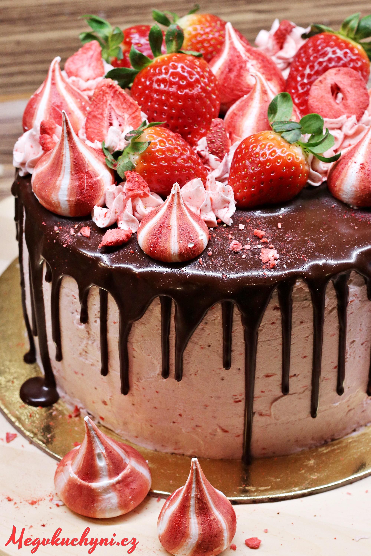 Čokoládovo-jahodový drip cake (stékaný dort)