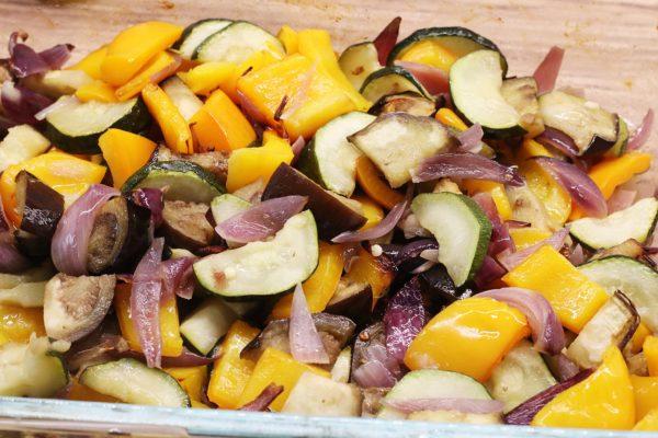 Zelenina v půlce pečení