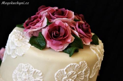 Svatební dort - detail horní patro
