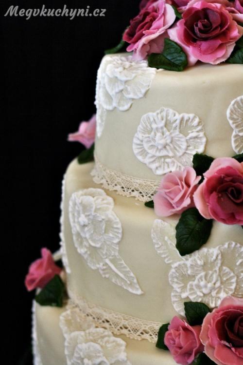 Svatební dort - detail krajka