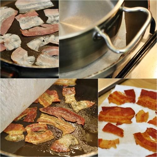 Příprava slaninových plátků